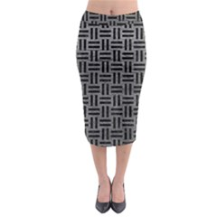 Woven1 Black Marble & Gray Leather (r) Midi Pencil Skirt