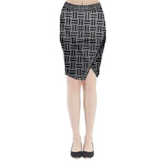 Woven1 Black Marble & Gray Leather (r) Midi Wrap Pencil Skirt