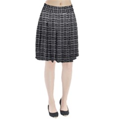 Woven1 Black Marble & Gray Leather (r) Pleated Skirt