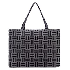 Woven1 Black Marble & Gray Leather (r) Zipper Medium Tote Bag