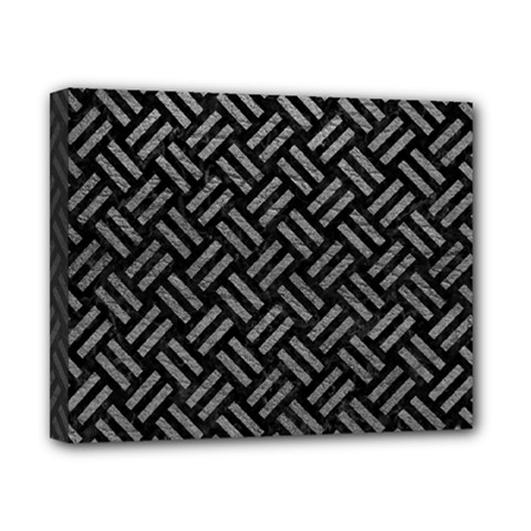 Woven2 Black Marble & Gray Leather Canvas 10  X 8