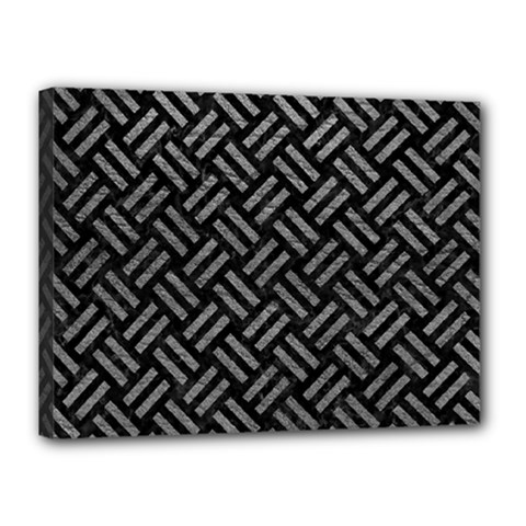 Woven2 Black Marble & Gray Leather Canvas 16  X 12