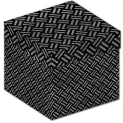 Woven2 Black Marble & Gray Leather Storage Stool 12