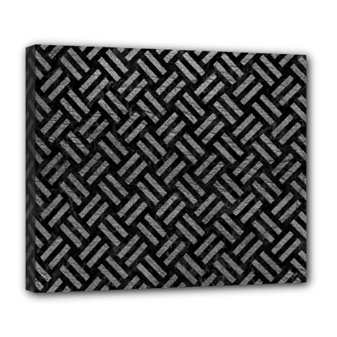 Woven2 Black Marble & Gray Leather Deluxe Canvas 24  X 20