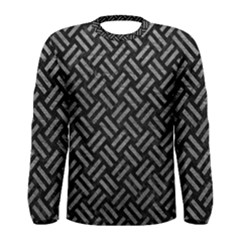Woven2 Black Marble & Gray Leather Men s Long Sleeve Tee