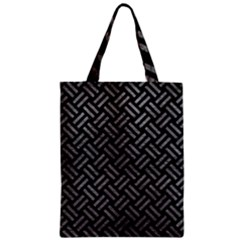 Woven2 Black Marble & Gray Leather Zipper Classic Tote Bag