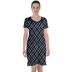 Woven2 Black Marble & Gray Leather Short Sleeve Nightdress