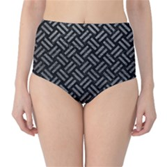 Woven2 Black Marble & Gray Leather High Waist Bikini Bottoms