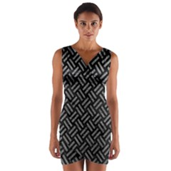 Woven2 Black Marble & Gray Leather Wrap Front Bodycon Dress