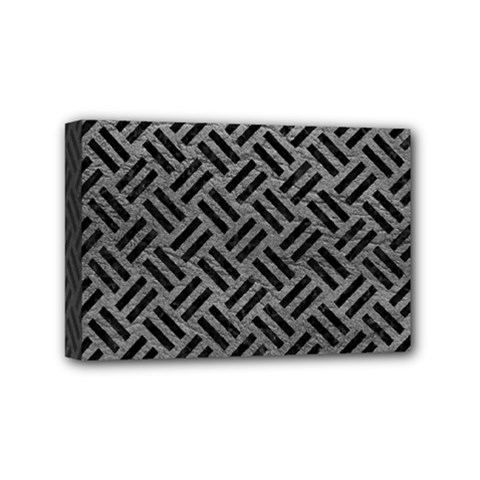 Woven2 Black Marble & Gray Leather (r) Mini Canvas 6  X 4