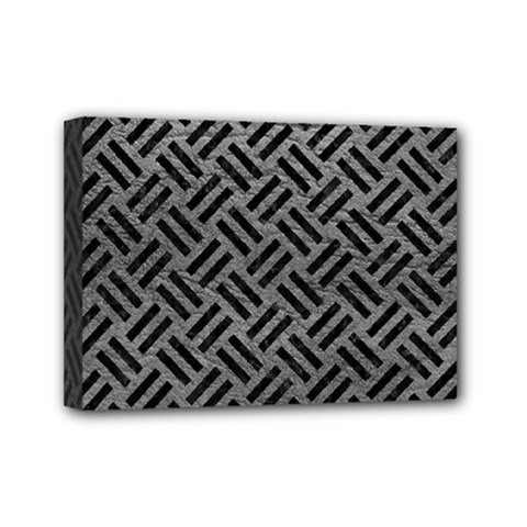 Woven2 Black Marble & Gray Leather (r) Mini Canvas 7  X 5