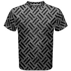 Woven2 Black Marble & Gray Leather (r) Men s Cotton Tee