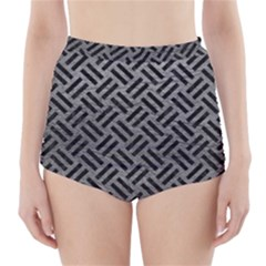 Woven2 Black Marble & Gray Leather (r) High Waisted Bikini Bottoms