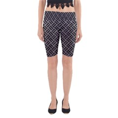 Woven2 Black Marble & Gray Leather (r) Yoga Cropped Leggings