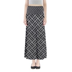 Woven2 Black Marble & Gray Leather (r) Full Length Maxi Skirt