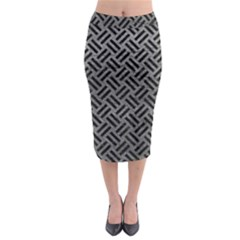 Woven2 Black Marble & Gray Leather (r) Midi Pencil Skirt