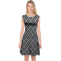 Woven2 Black Marble & Gray Leather (r) Capsleeve Midi Dress