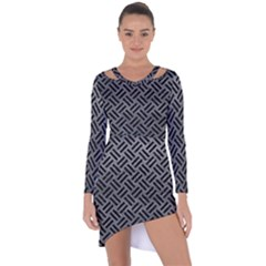 Woven2 Black Marble & Gray Leather (r) Asymmetric Cut Out Shift Dress