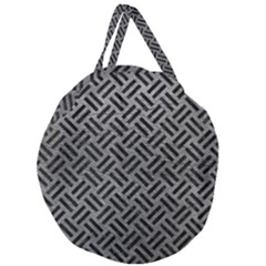 Woven2 Black Marble & Gray Leather (r) Giant Round Zipper Tote