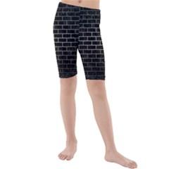 Brick1 Black Marble & Gray Metal 1 Kids  Mid Length Swim Shorts