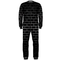 Brick1 Black Marble & Gray Metal 1 Onepiece Jumpsuit (men)