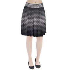 Brick1 Black Marble & Gray Metal 1 (r) Pleated Skirt