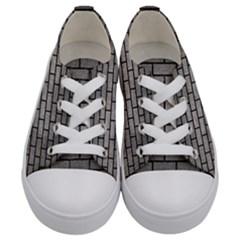 Brick1 Black Marble & Gray Metal 1 (r) Kids  Low Top Canvas Sneakers