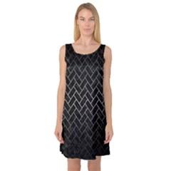 Brick2 Black Marble & Gray Metal 1 Sleeveless Satin Nightdress