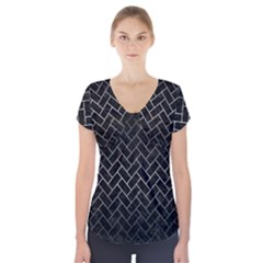 Brick2 Black Marble & Gray Metal 1 Short Sleeve Front Detail Top