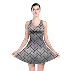Brick2 Black Marble & Gray Metal 1 (r) Reversible Skater Dress