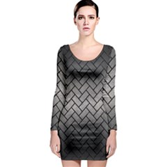 Brick2 Black Marble & Gray Metal 1 (r) Long Sleeve Bodycon Dress