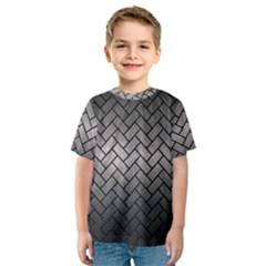 Brick2 Black Marble & Gray Metal 1 (r) Kids  Sport Mesh Tee