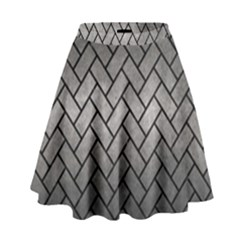 Brick2 Black Marble & Gray Metal 1 (r) High Waist Skirt