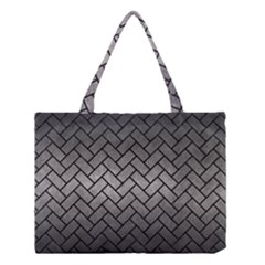Brick2 Black Marble & Gray Metal 1 (r) Medium Tote Bag