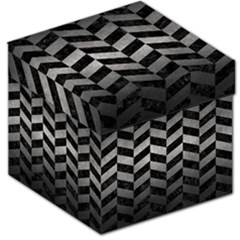 Chevron1 Black Marble & Gray Metal 1 Storage Stool 12