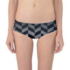 Chevron1 Black Marble & Gray Metal 1 Classic Bikini Bottoms