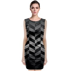 Chevron1 Black Marble & Gray Metal 1 Classic Sleeveless Midi Dress