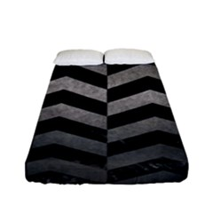 Chevron2 Black Marble & Gray Metal 1 Fitted Sheet (full/ Double Size)