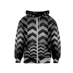 Chevron2 Black Marble & Gray Metal 1 Kids  Zipper Hoodie