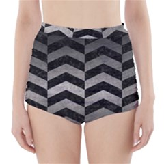 Chevron2 Black Marble & Gray Metal 1 High Waisted Bikini Bottoms