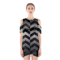 Chevron2 Black Marble & Gray Metal 1 Shoulder Cutout One Piece