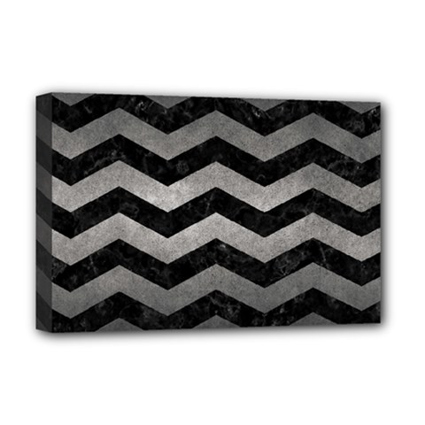 Chevron3 Black Marble & Gray Metal 1 Deluxe Canvas 18  X 12