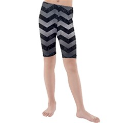 Chevron3 Black Marble & Gray Metal 1 Kids  Mid Length Swim Shorts