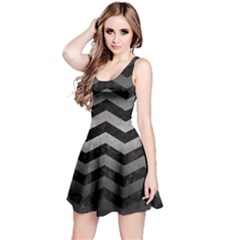 Chevron3 Black Marble & Gray Metal 1 Reversible Sleeveless Dress