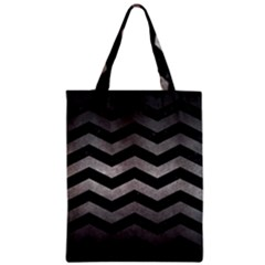 Chevron3 Black Marble & Gray Metal 1 Zipper Classic Tote Bag