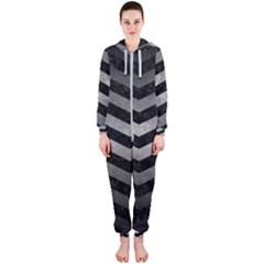 Chevron3 Black Marble & Gray Metal 1 Hooded Jumpsuit (ladies)
