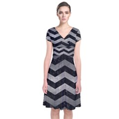 Chevron3 Black Marble & Gray Metal 1 Short Sleeve Front Wrap Dress