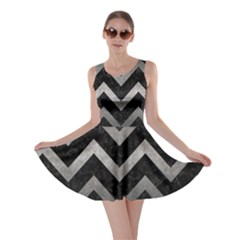 Chevron9 Black Marble & Gray Metal 1 Skater Dress