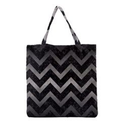 Chevron9 Black Marble & Gray Metal 1 Grocery Tote Bag