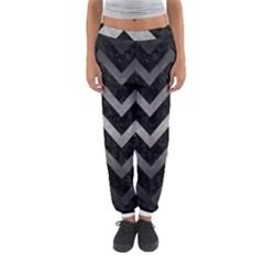 Chevron9 Black Marble & Gray Metal 1 Women s Jogger Sweatpants